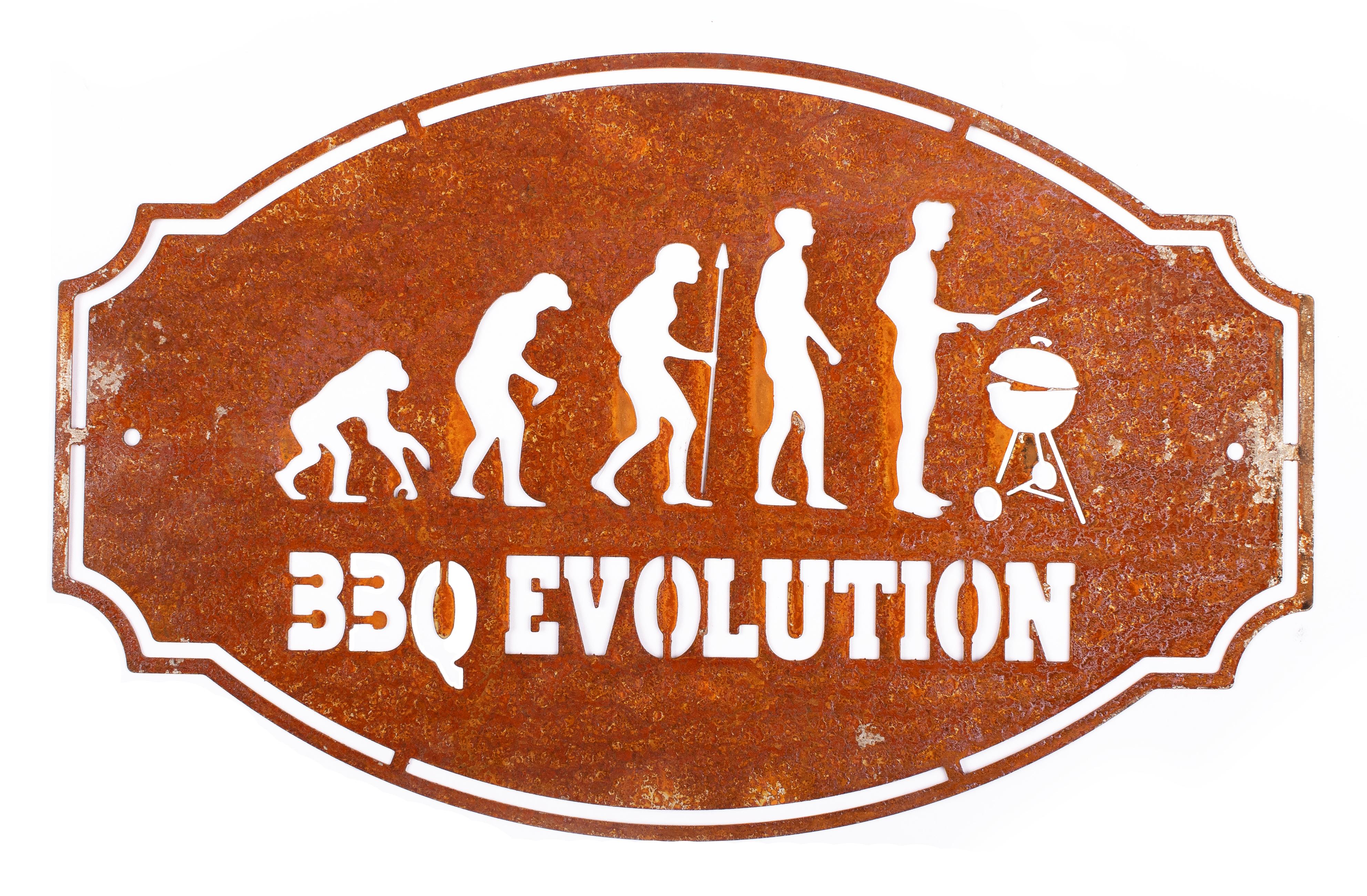 Schild BBQ Evolution in Edelrost-Optik