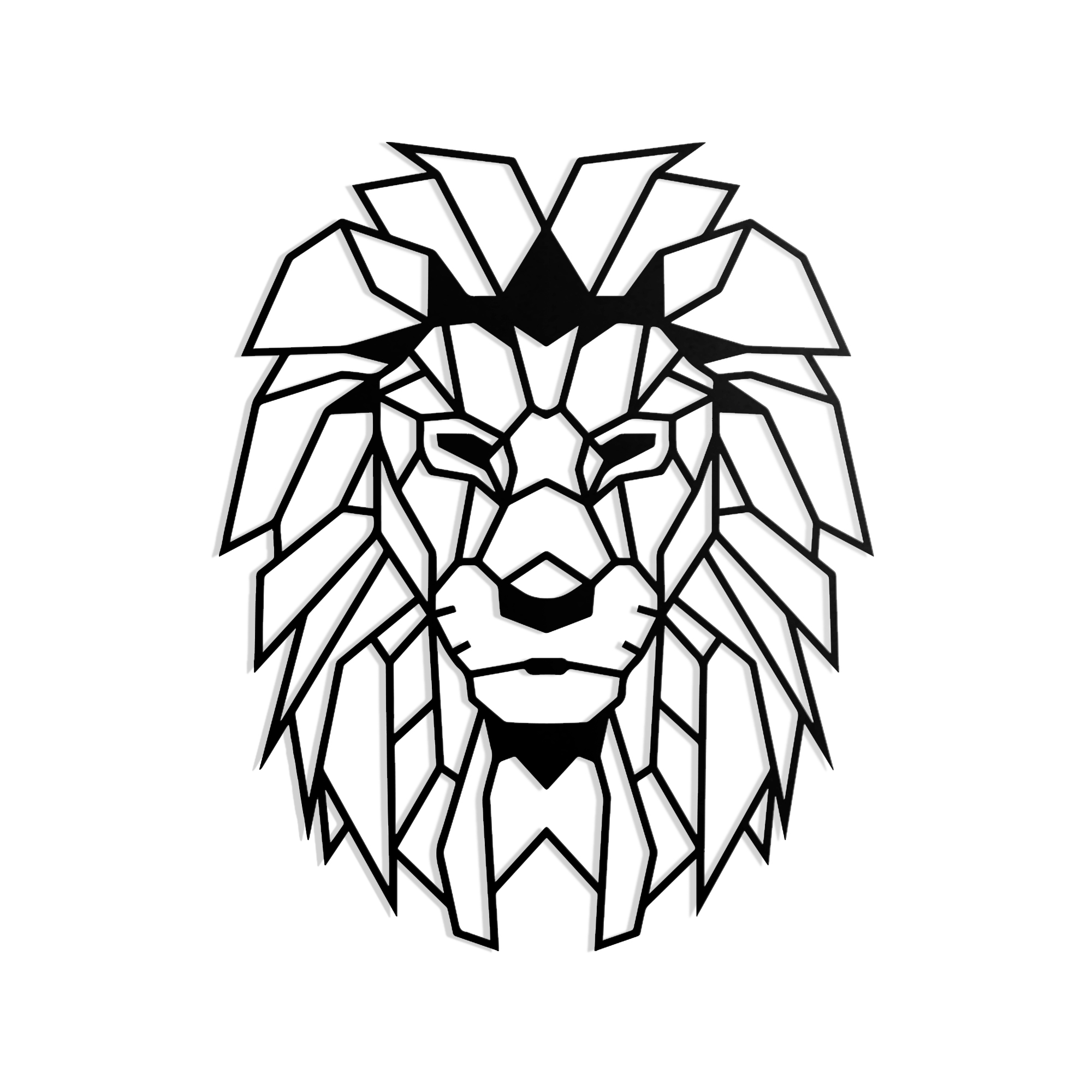 Geometrischer Löwenkopf schwarz in L